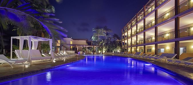 Exterior and Pool at Night