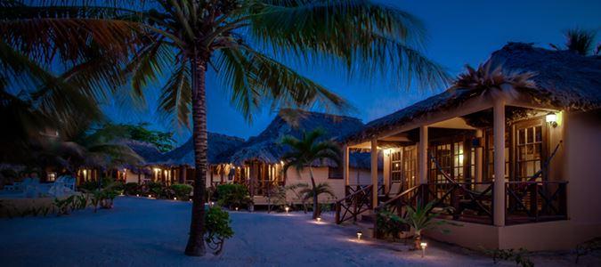 Beach Cabanas at Night