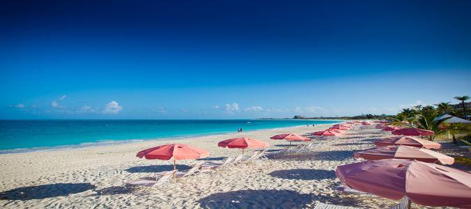 Beach and Signature Pink Umbrellas