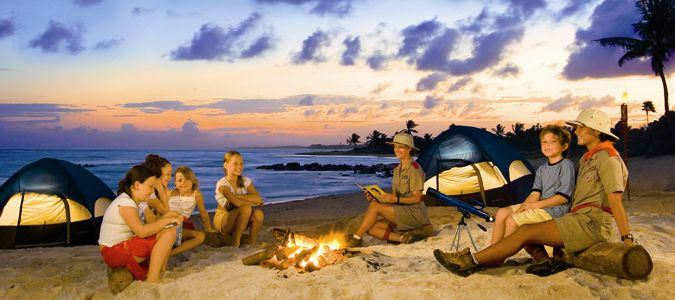 Family camping on the beach