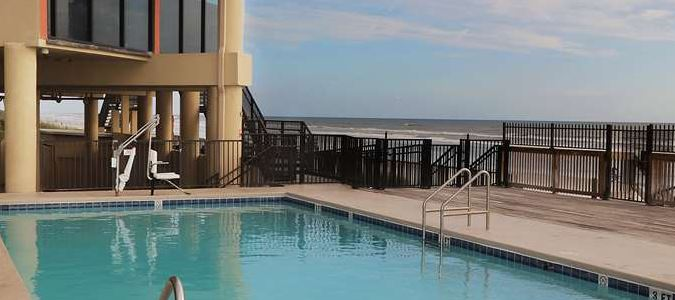 The Pool overlooks the Ocean and Beach